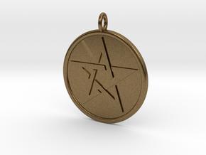 Solid Pentacle Pendant in Natural Bronze