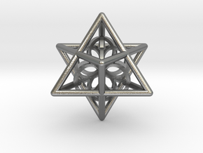 Merkaba Seed Of Life Pendant in Natural Silver