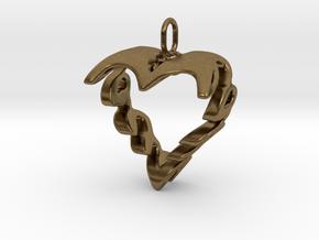 Love Heart Pendant v2 - 22mm in Natural Bronze