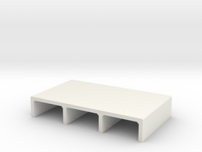 N/H0 Box Culvert Triple Tube Half Height (size 1) in White Natural Versatile Plastic