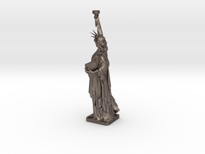 Statue Of Liberty Table Candle Holder Ø21 Cm in Polished Bronzed Silver Steel