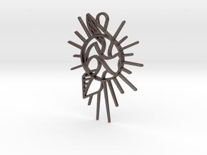 Bird Pendant v2.5 in Polished Bronzed Silver Steel