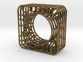 LOFF - wire cubic Ring and pendant in Natural Bronze