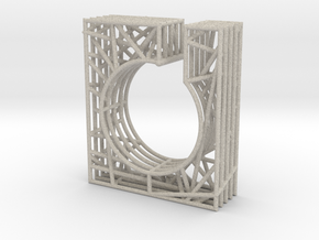 LOFF - wire cubic ring and pendant 1 in Natural Sandstone