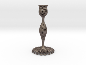 Bridget Candlestick in Polished Bronzed Silver Steel