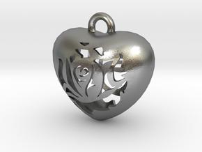 Love Pendant  in Natural Silver