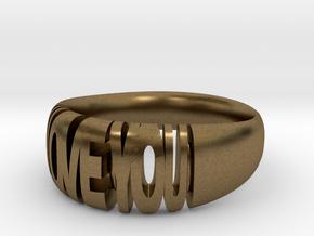 Valentine ring, I Love You in Natural Bronze