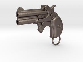 Derringer Gun in Polished Bronzed Silver Steel