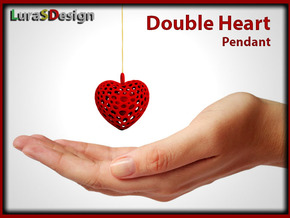 Double Heart Pendant in Red Strong & Flexible Polished