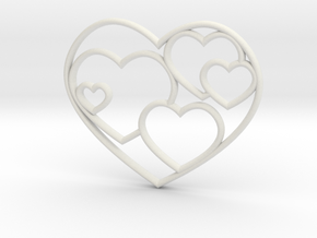 Lots of Hearts Necklace in White Natural Versatile Plastic