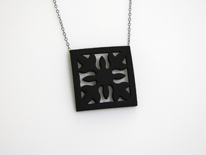 Hawaiian Quilt Block Pendant in Black Natural Versatile Plastic