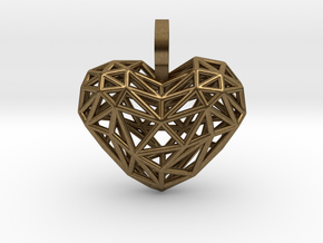 Heart Pendant - Wireframe in Natural Bronze