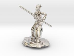Dragonborn Monk in Robes with Quarterstaff in Platinum