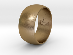 Ring Of Life in Polished Gold Steel