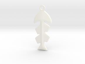 Fishbone Pendant in White Processed Versatile Plastic