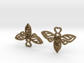 Bee Earrings in Natural Bronze