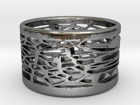 Bracelet medium voronoi 1 in Polished Silver