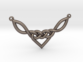 Celtic Heart Knot Pendant in Polished Bronzed Silver Steel