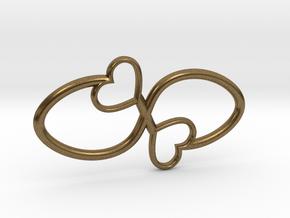 Eternal Double Heart Pendant in Natural Bronze