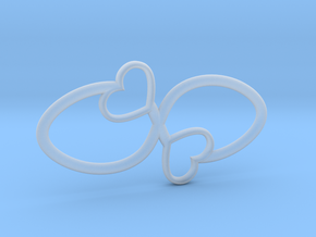 Eternal Double Heart Pendant in Smooth Fine Detail Plastic