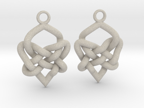 Celtic Heart Knot Earring in Natural Sandstone