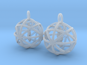 Clover in a Sphere Earrings in Smooth Fine Detail Plastic