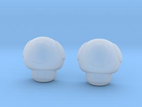Super Mario Mushroom Earrings Green in Smooth Fine Detail Plastic