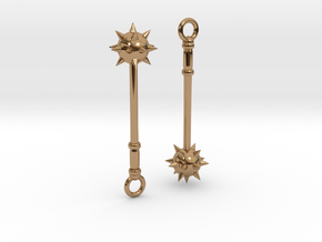 Spiked Mace Earrings in Polished Brass