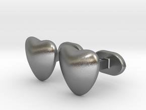 Half heart Cufflinks in Natural Silver