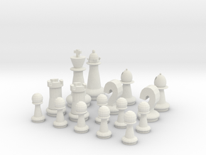 Half Chess Set in White Natural Versatile Plastic