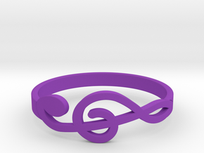 Size 9 G-Clef Ring  in Purple Processed Versatile Plastic
