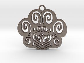 Feline Pawprint in Polished Bronzed Silver Steel
