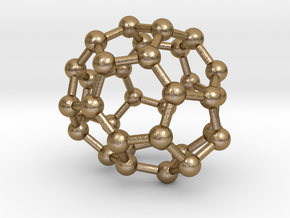 0019 Fullerene c34-4 c2 in Polished Gold Steel