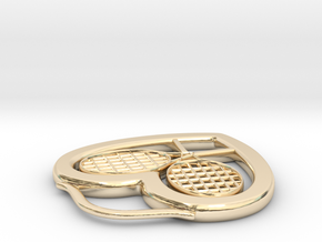 Heart And Tennis Rackets in 14K Yellow Gold