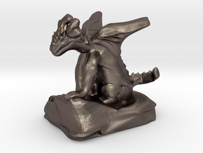 Pseudodragon Companion for Ranger or Warlock in Polished Bronzed Silver Steel