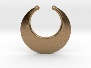 Faux Septum Ring -  Crescent (medium) in Natural Brass