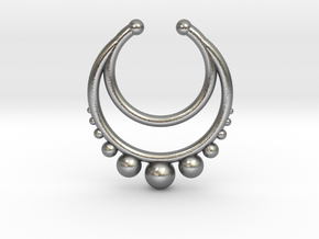Faux Septum Dropped Ring with Spheres Under (wider in Natural Silver