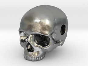 20mm .8in Keychain Bead Human Skull in Natural Silver