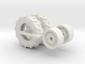 1:64 scale 11-22.5 Tire And Wheels in White Strong & Flexible