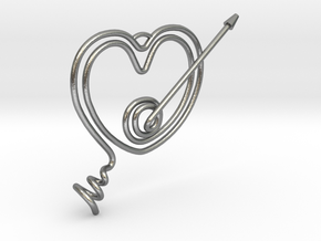 Heart Pendant  in Natural Silver