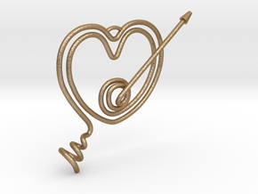 Heart Pendant  in Matte Gold Steel