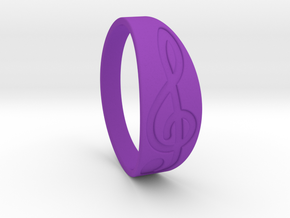 Size 10 M G-Clef Ring Engraved in Purple Processed Versatile Plastic