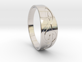 Size 9 M G-Clef Ring Engraved in Platinum