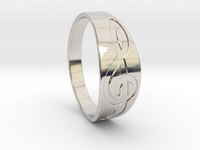 Size 8 M G-Clef Ring Engraved in Platinum