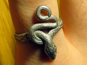 Covetous Silver Serpent Ring in Polished Nickel Steel: 8.5 / 58