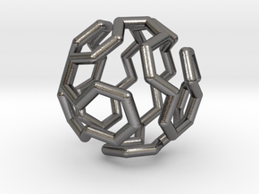 Buckyball Cycle Pendant in Polished Nickel Steel