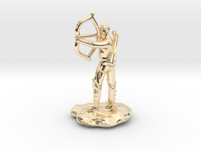 Half-Elf Bard Historian with Shortbow and Lute in 14K Yellow Gold