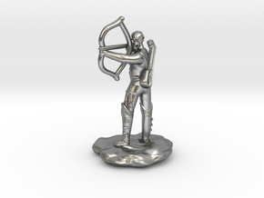 Half-Elf Bard Historian with Shortbow and Lute in Natural Silver