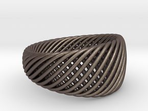 Twisted Ring - Size 6 in Polished Bronzed Silver Steel
