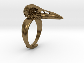 Crow Ring - adjustable in Natural Bronze